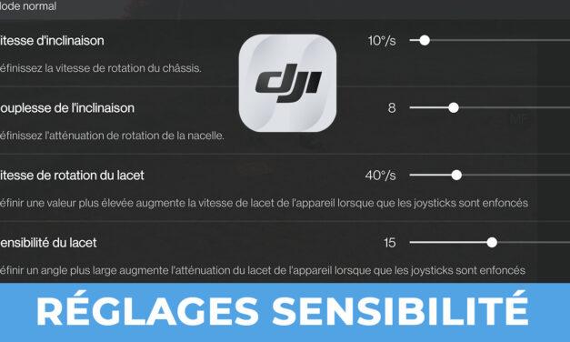 Réglages DJI FLY inclinaison et sensibilité de la nacelle (vitesse de rotation de la caméra)